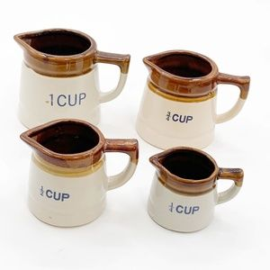 Vintage Measuring Cups Set Stoneware Pottery Brown